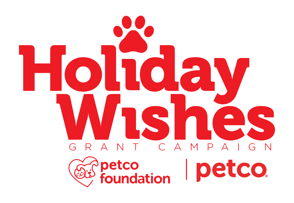 large red text picture reads holiday wishes. red subtext: grant campaign with petco logo below